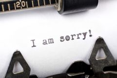 I am sorry. Typewriter close up shot, concept of I am sorry Royalty Free Stock Photo