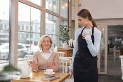 Inexperienced new waitress talking with her client. I am sorry. Kind-hearted aged women talking to the waitress and telling that is not her order royalty free stock image