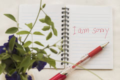 I am sorry message card write on notebook with flowers. In flowerpot Stock Photo