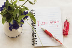 I am sorry message card write on notebook with flowers Royalty Free Stock Image