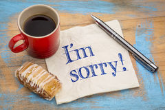 I am sorry on napkin Royalty Free Stock Photo
