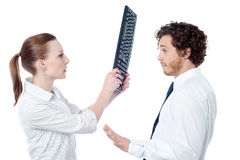 I am sorry, please forgive me!. Man trying to explain, getting hit by keyboard royalty free stock photos
