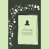 I am sorry vector lettering in abstract style, place for text and photo Stock Photo