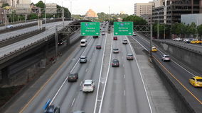 I5 South Freeway in Seattle. View of I5 South with the Tacoma, Portland, Bellevue and Spokane directional sign stock video
