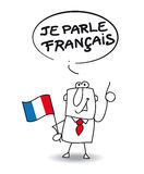 I speak french. This businessman speaks very well french Stock Photo