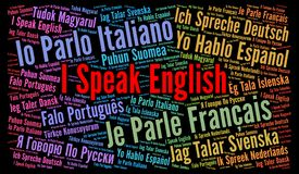 I speak a language in different languages word cloud Stock Image