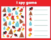 I spy game for toddlers. Find and count objects. Counting educational children activity. Christmas and new year holidays theme. I spy game for toddlers. Find and royalty free illustration