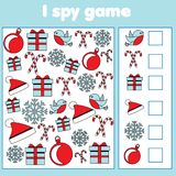 I spy game for toddlers. Find and count objects. Counting educational children activity. Christmas and new year holidays theme. I spy game for toddlers. Find and stock illustration