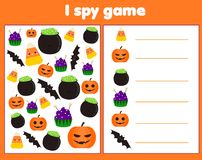 I spy game for toddlers. Find and count objects. Counting educational children activity. Halloween theme. I spy game for toddlers. Find and count objects Royalty Free Stock Photography