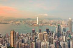 I stadens centrum affär för Hong Kong stadskontorsbyggnad fotografering för bildbyråer