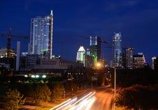I stadens centrum Austin Texas på skymning Royaltyfria Bilder