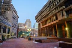 I stadens centrum Boston och boston horisont Arkivbild