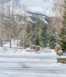 I stadens centrum Breckenridge Colorado gränd royaltyfri foto