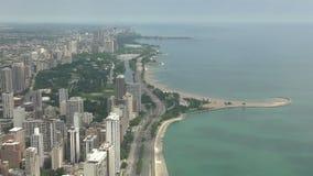 I stadens centrum Chicago flyg- sikt arkivfilmer