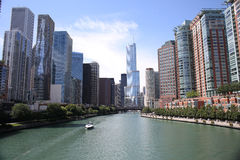I stadens centrum Chicago, Illinois, USA Arkivfoto