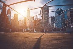 I stadens centrum Chicago solnedgång Arkivfoton