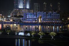 i stadens centrum dubai natt Royaltyfri Fotografi