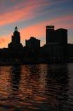 I stadens centrum försyn, RI på solnedgången Arkivbild