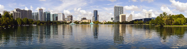 i stadens centrum florida orlando panorama- horisont Royaltyfri Fotografi