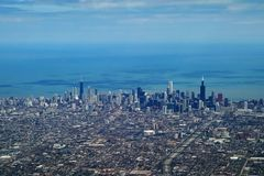 i stadens centrum flyg- chicago Fotografering för Bildbyråer