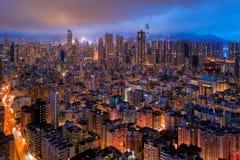 i stadens centrum flyg- sikt av Hong Kong Finansiell områdes- och affärsmitt i smart stads- stad i Asien Bästa sikt av skyskrapan arkivfoto