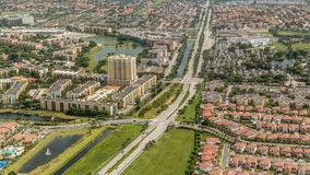 I stadens centrum flyg- sikt av Miami Royaltyfri Bild