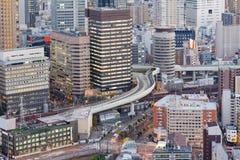 I stadens centrum flyg- sikt för Osaka stadskontorsbyggnad Arkivfoton