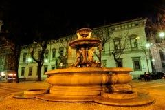 i stadens centrum fontana milan piazzafyrkant Arkivbilder
