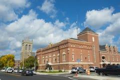 I stadens centrum Framingham, Massachusetts, USA arkivfoto