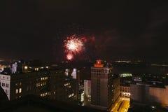 I stadens centrum fyrverkerier, fjärdedel av Juli, Memphis, TN Arkivbilder