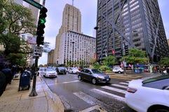 I stadens centrum gatasikt, Chicago, Illinois Fotografering för Bildbyråer
