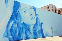 I stadens centrum Hollywood vägg- projekt arkivbild