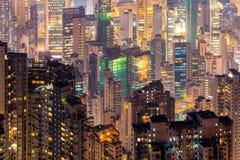 I stadens centrum Hong Kong den berömda cityscapesikten av Hong Kong Fotografering för Bildbyråer