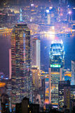 I stadens centrum Hong Kong den berömda cityscapesikten av Hong Kong Royaltyfri Fotografi