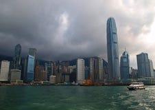 i stadens centrum Hong Kong horisont Arkivfoto