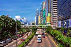 i stadens centrum Hong Kong trafik Arkivbilder