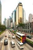 i stadens centrum Hong Kong trafik Arkivbild