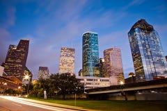 I stadens centrum Houston på trafiktid Arkivfoto