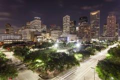 I stadens centrum Houston på natten, Texas Arkivbild