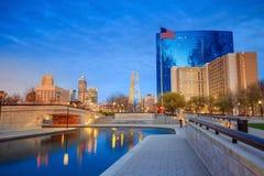 I stadens centrum Indianapolis horisont Arkivbild