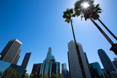 I stadens centrum LALos Angeles horisont Kalifornien från fwy 110 Royaltyfri Bild