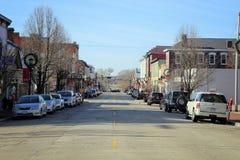 I stadens centrum Libanon, Ohio i vinter Arkivfoto