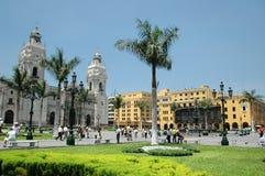I stadens centrum Lima Peru med koloniala byggnader Arkivbilder