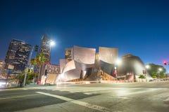 I stadens centrum Los Angeles horisont på skymning Arkivfoton