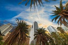 I stadens centrum Los Angeles på solnedgången arkivbilder