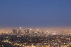 I stadens centrum Los Angeles vid natt Arkivbilder