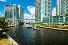 I stadens centrum Miami Cityscape Royaltyfria Foton