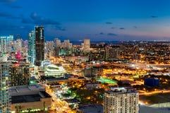 I stadens centrum Miami horisont Royaltyfri Fotografi