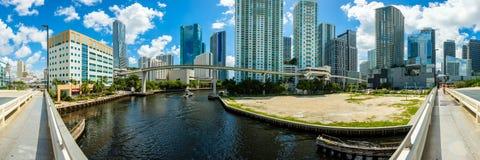 I stadens centrum Miami panorama Arkivbilder