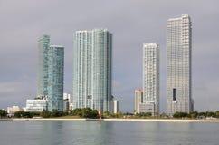 i stadens centrum miami skyskrapor Arkivbild